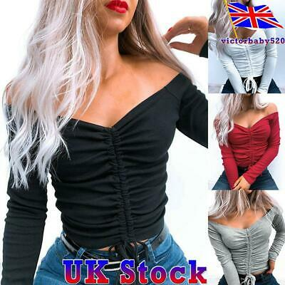 Women Sexy Off-Shoulder Crop Top Long Sleeve Jumper Pullover Ladies Slim Sweater • 9.09£