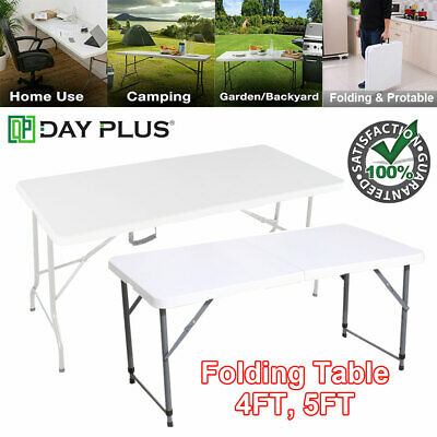 Folding Table 1.2/1.5M 4/5FT Portable Chairs Stools Camping Garden Party Trestle • 34.90£