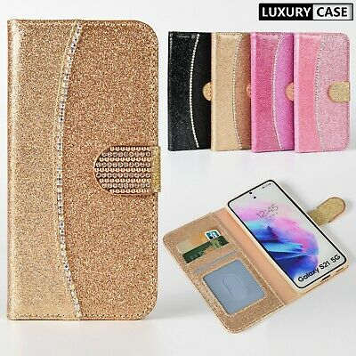 $ CDN8.73 • Buy Leather Glitter Magnetic Wallet Flip Phone Case Cover For Samsung S20 S10 S9 S8+