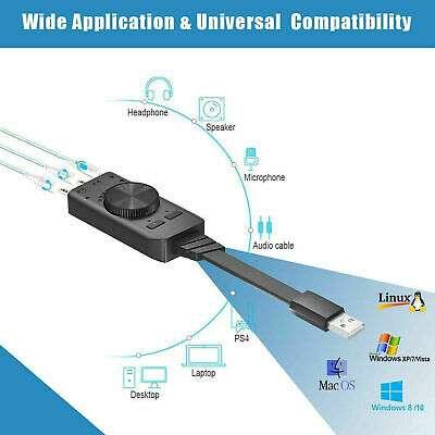 USB External Surround Sound Card Audio Adapter Earphone 3.5mm 7.1ch Converter • 8.70£