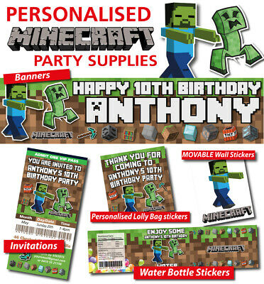 AU9.99 • Buy Minecraft Personalised Birthday Party Banner Decorations T-shirts Wall Stickers