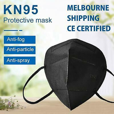 AU19.95 • Buy KN95 Face Mask Black P2 Particulate Filter Anti Dust N95 Protective Respirator