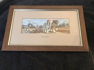 Vintage Cash Shire Horses Woven Silk Picture  Framed Ploughing Farming England  • 14.99£