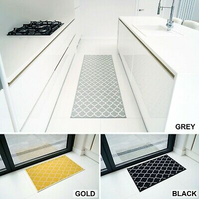 Machine Washable Non Slip Trellis Kitchen, Corridor, Hallway Runners Rugs Mats • 12.99£
