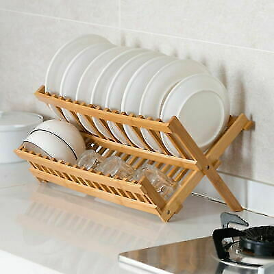 Folding Sink Dish Rack Drainer Bamboo Wooden Bowl Plate Cup Dryer Holder Drying • 10.99£