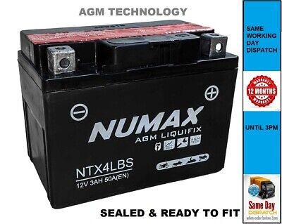 NUMAX YTX4L-BS AGM LIQUIFIX MOTORCYCLE BATTERY - SEALED & READY To FIT • 16.55£