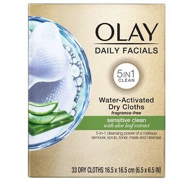 AU20.58 • Buy Olay Daily Facials Cleansing 5 In 1 Cloths, Sensitive, 33 Count