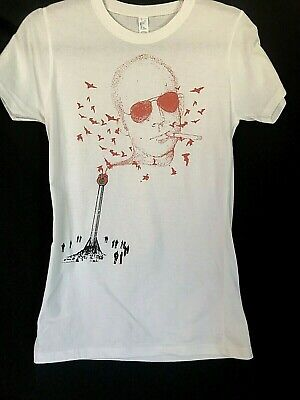 $77 • Buy Vtg Hunter S. Thompson Smoking Portrait T-shirt Women YL Fear Loathing Gonzo