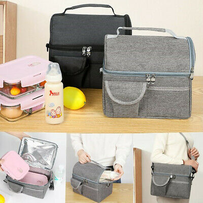$ CDN20.54 • Buy New Insulated Double Decker Lunch Bag Box For Women Men Hot Cold Tote Food