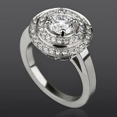$ CDN3053.73 • Buy Anniversary Diamond Ring Halo Natural Lady 2 Carat 18k White Gold Size 7 8 9