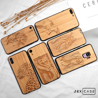 AU19.99 • Buy Natural Wood Animals Engraving Phone Case For IPhone 12 Pro Max 11 X 7/8&Samsung