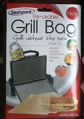 3× Reusable Grill Bag NO MESS!! Paninis Toasted Sandwiches Meat Fish Sealapack • 5.29£