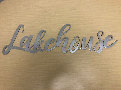 LAKEHOUSE Metal Wall Art Word Quote Sign Decor, Steel Rustic • 16.84£