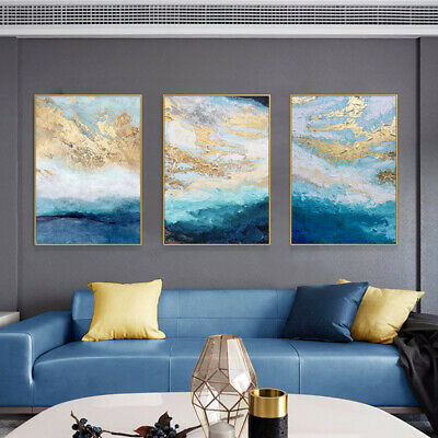 £44.76 • Buy LL442 Canvas 3Pcs/set Abstract Gold Foil Oil Painting Hand-painted Unframed