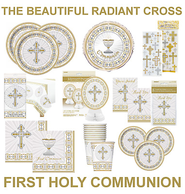 1st/FIRST HOLY COMMUNION Party Decorations SILVER & GOLD RADIANT CROSS BOY/GIRL • 2.49£