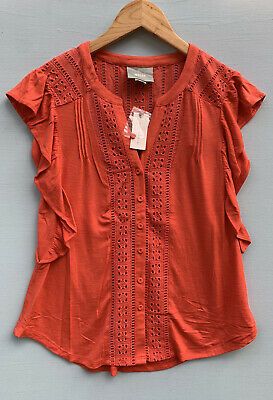 $ CDN36.18 • Buy Anthropologie XS Top NEW Maeve Kailana Orange Lace Shirt NWT Ruffled Blouse 0 2
