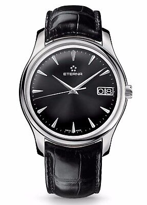 Eterna Vaughan 7630.41.50.1186 Swiss Automatic Watch Black Face Leather - NEW! • 1,599.99£