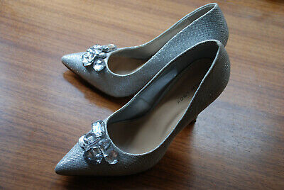 New Look Silver Glitter Diamond Shoes Wedding Bride Bridesmaid Ball Princess • 22.99£