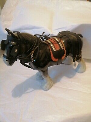 Vintage Fine Decorative Pottery Shire Horse Animal Figurine Ornament Dark Grey • 9.99£
