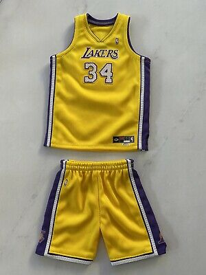 $99 • Buy Lakers 1/6 Shaquille O'neal Yellow #34 Handmade Embroidered Jersey For Enterbay