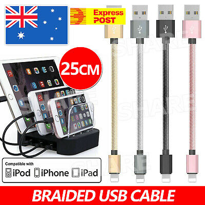 AU3.95 • Buy 1x 25CM Short Braided USB Charger Cable Fast Charging Cord For IPhone XS 8 7 6