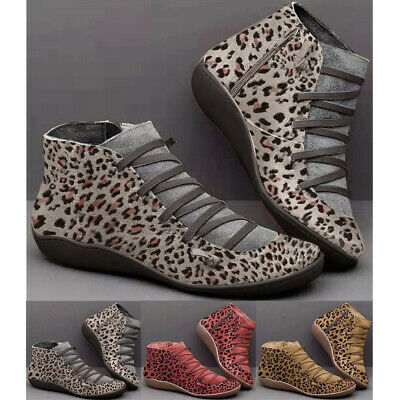 Ladies Womens Winter Boots Casual Arch Support Ankle Boots Wedge Heel Flat Shoes • 13.97£