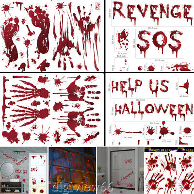 Halloween Window Stickers Decoration Scary Blood Hand Party Bloody Red Decals Uk • 1.98£