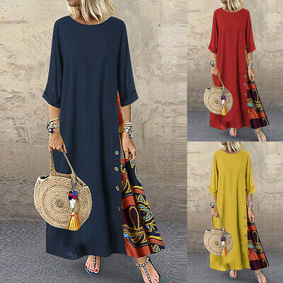 Women Casual Patchwork Long Sleeves O-Neck Button High Low Hem Plus Size Dress • 11.89£