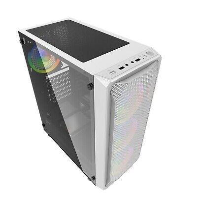 GAMING PC WHITE ATX COMPUTER MID TOWER CASE TEMPERED GLASS IONZ KZ10W S/R • 22.95£