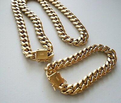 $30.99 • Buy 10 Mm24inMen Cuban Miami Link Bracelet Chain Set 14k Gold Plated Stainless Steel