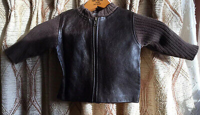 £11.32 • Buy Baby Gap Boys 6-12 Months  Brown Leather Sweater Jacket 90s Stock NWT