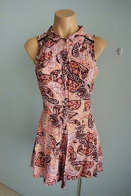 AU35 • Buy Tigerlily Sleeveless V Neck Lace Insert Multi-Coloured Button-thru Dress Sz 10