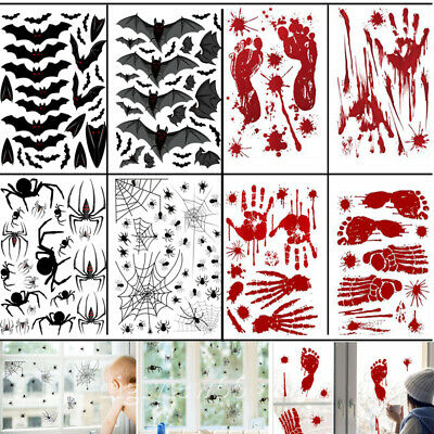 Halloween Window Stickers Decor Scary Blood Hand Party Spider Bat Web Stickers • 2.32£