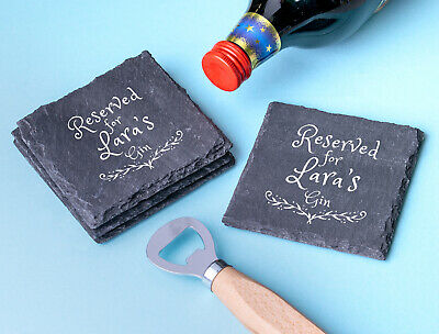 £4.99 • Buy Personalised Engraved Slate Coasters Wedding Gift Square Plate Teacher Gift