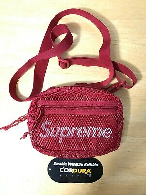$ CDN115 • Buy Authentic SUPREME SS20 Red Mesh Side Shoulder Crossbody Bag Pouch