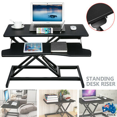 AU160.99 • Buy Standing Desk Riser Office Shelf Standup Sit Stand Height Adjustable Standing