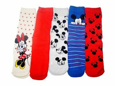 Ladies Disney Mickey Minnie Mouse Socks 5X PAIRS Womens Christms Gift Character • 5.40£