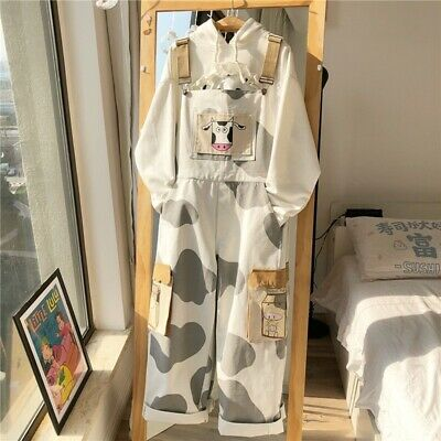 $ CDN81.37 • Buy Japanese Women Loose Kawaii Cow Print Overalls Wide Leg Casual Jumpsuit Overalls
