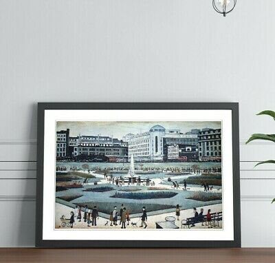 LS Lowry Piccadilly Gardens People FRAMED WALL ART PRINT PAINTING 4 SIZES • 14.99£
