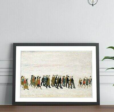 LS Lowry A Procession Of People FRAMED WALL ART PRINT PAINTING Artwork 4 SIZES • 14.99£