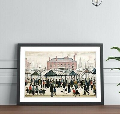 £12.99 • Buy Market Scene Northern FRAMED WALL ART PRINT PAINTING Artwork LS Lowry Style