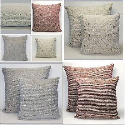 £7.99 • Buy Large Or Small Rustic Country Stripe Chenille Cushion Cover With A Hint Of Gold