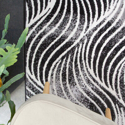 Contemporary Black Living Room Rug Small Large Nautical Area Rugs Hall Runners • 9.95£