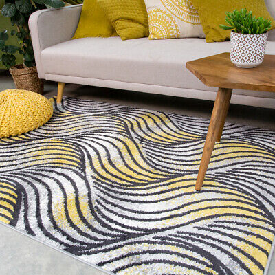 Contemporary Yellow Living Room Rug Small Large Nautical Area Rugs Hall Runners • 44.95£