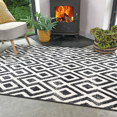 Black White Living Room Rug Small Large Bohemian Area Rugs Hall Carpet Runners • 14.95£