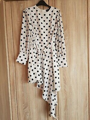Pretty Little Thing ,polka Dot Dress.with Belt Attached And Long Sleeves. • 8.50£