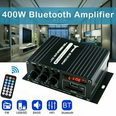 12V 400W Bluetooth HiFi Power Amplifier Mini Audio Digital Stereo FM AMP Remote • 13.79£