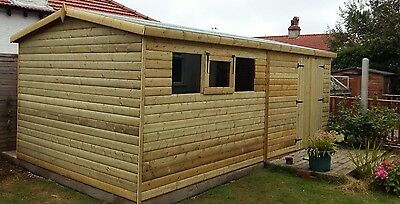 SHED/WORKSHOP 16x8 HEAVY DUTY 22MM LOG LAP  3x2 FRAMING FREE DELIVERY/FITTING • 1,520£