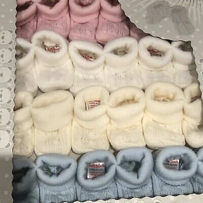 Newborn Spanish Knitted Baby Booties White Ivory Pink Blue Boys Girls Cable Knit • 2.99£