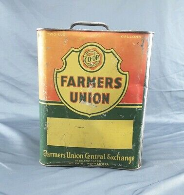 $ CDN38.21 • Buy Vintage 2 Gallon Farmers Union Central Exchange Co-Op Metal Oil Can